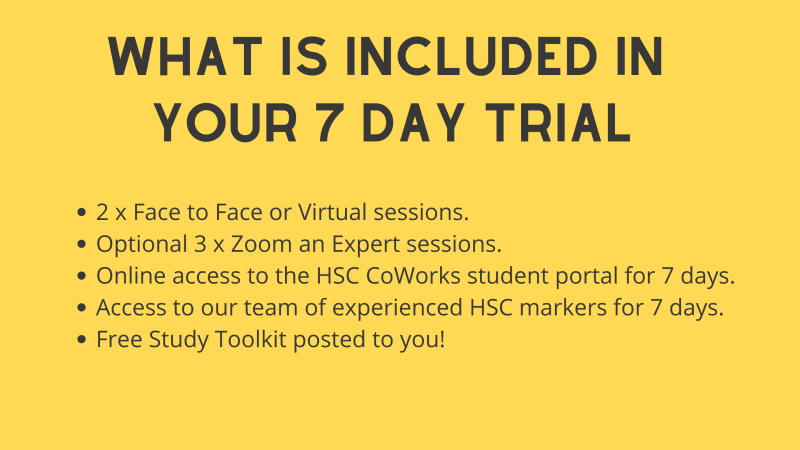 Outline of 7 day HSC Tuition Trial